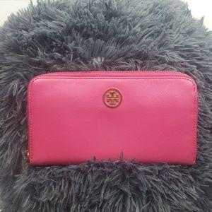 Tory Burch Pink Zip around  Wallet